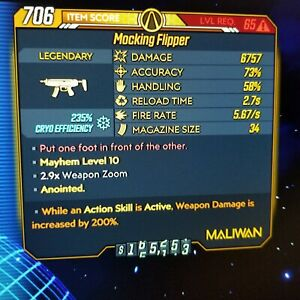 Xbox-Borderlands-3-Level-65-Mayhem-10-Flipper-Cryo-Corr-200-DMG-ASA