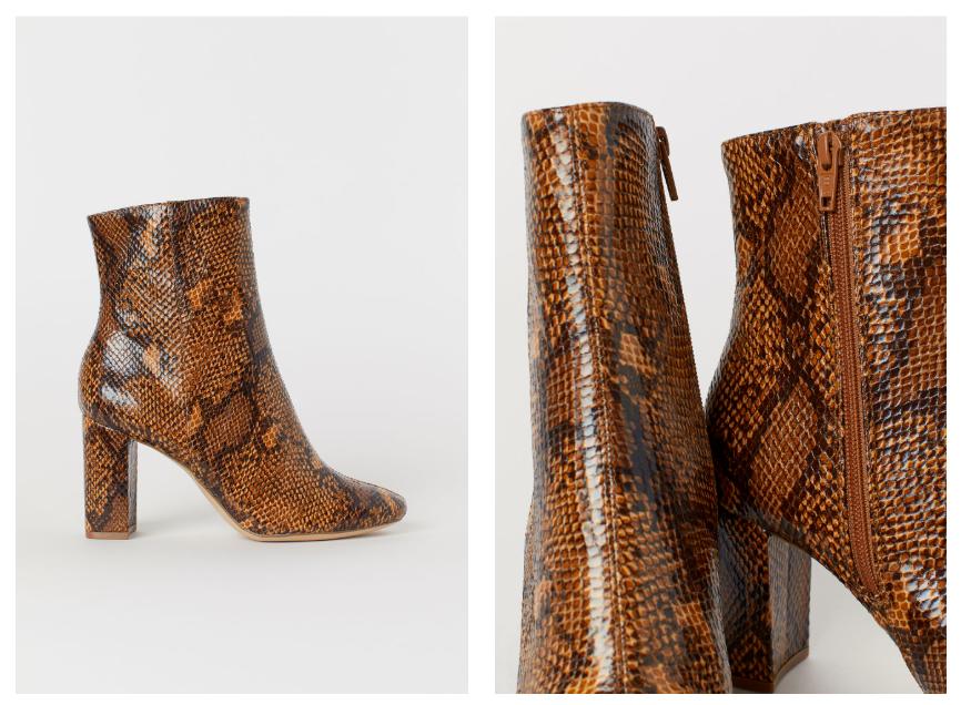 BNWT H&M Snakeskin-Patterned Boots UK 5 EUR 38 US 7