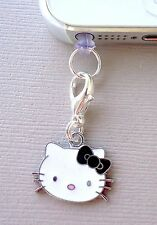 Hello Kitty Black cell phone Charm Dust proof  Plug ear jack For iPhone C115