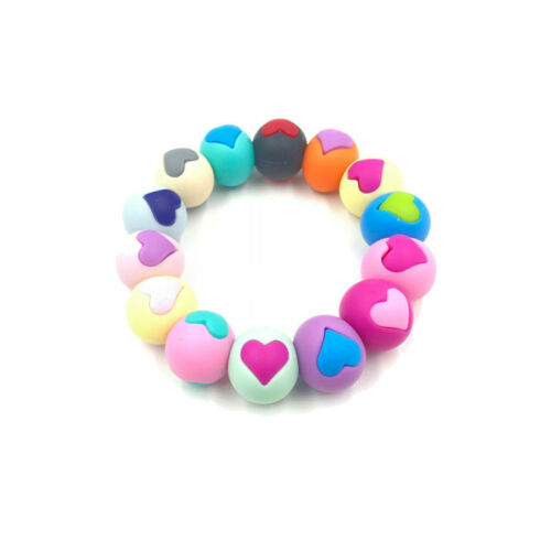 DIY Baby Love Heart Teething Beads Silicone Teether Nursing Necklace Pendant S