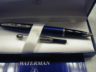 Waterman Fountain Pen Carene Royal Blue Fountain Pen 18K Gold Fine Pt New In Box