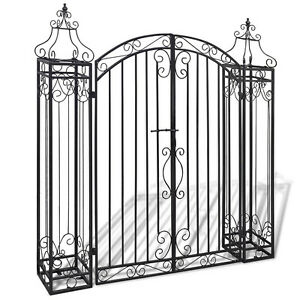 Image Is Loading Wrought Iron Garden Gate Arch Design Outdoor Metal