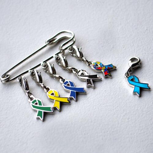 PinMart/'s Black Awareness Ribbon Enamel Charm