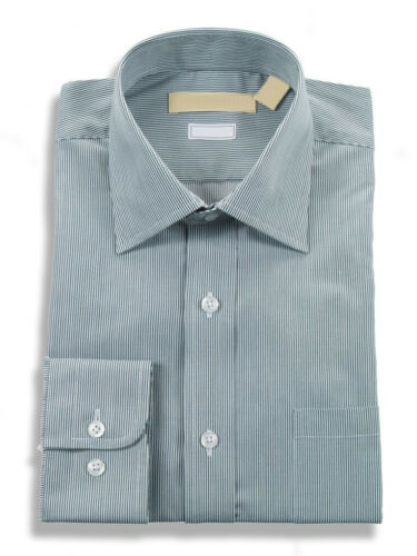 Slim Fit Hunter Green /& White Striped Easy Care Cotton Blend Dress Shirt