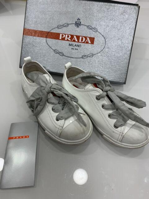 Girls white patent leather PRADA