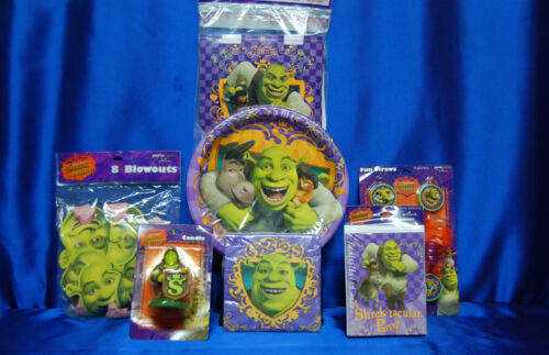 Shrek Party Set # 8 Napkin Plates Candle Invites Blowouts Straws