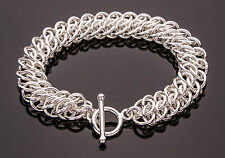 GSG Chain Maille Bracelet .925 Sterling Silver 7.5 Inch Handmade Chainmail iDu