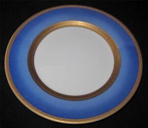 Faberge-ATHENA-Salad-Plate-7-7-8-034-Blue-Border-Gold-Greek-Key