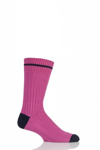 Homme 1 paire Sockshop de londres nervure coton chaussettes avec contraste heel /& orteil