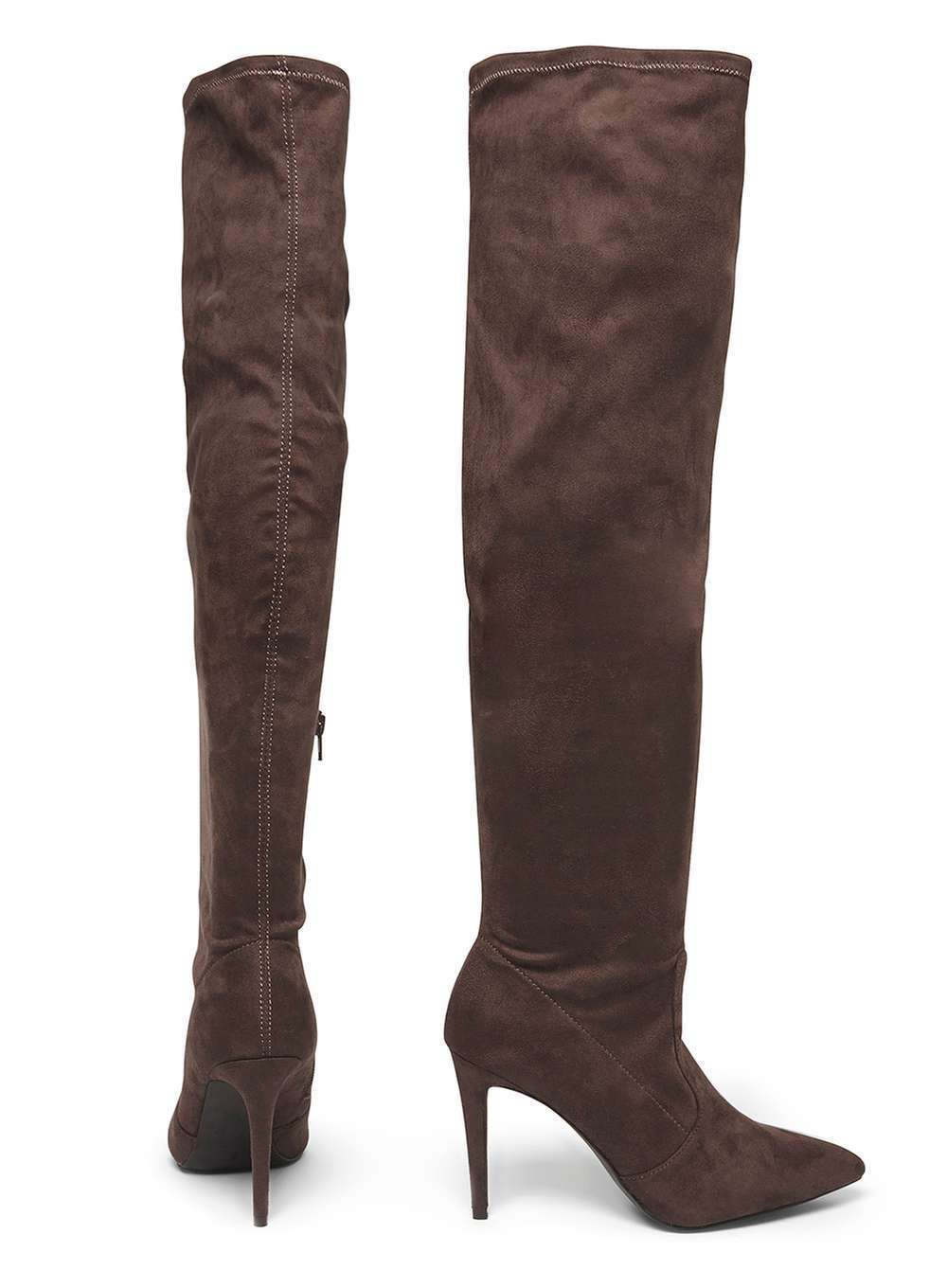 DGoldTHY PERKINS Größe 5 7 grau KIMBERLY FAUX SUEDE OVER KNEE THIGH Stiefel