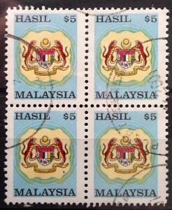 Malaysia Used Revenue Stamps - 4 pcs $5 Stamp (Old Design Small Size)