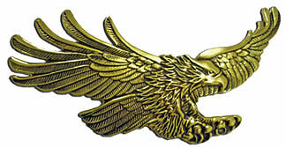 Screaming Eagle emblem, Antique gold GL1500 7 inch