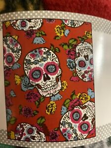 Red-Folkloric-Skull-Day-Of-The-Dead-Fleece-No-Pull-Fabric-1-5-Yards-54x60