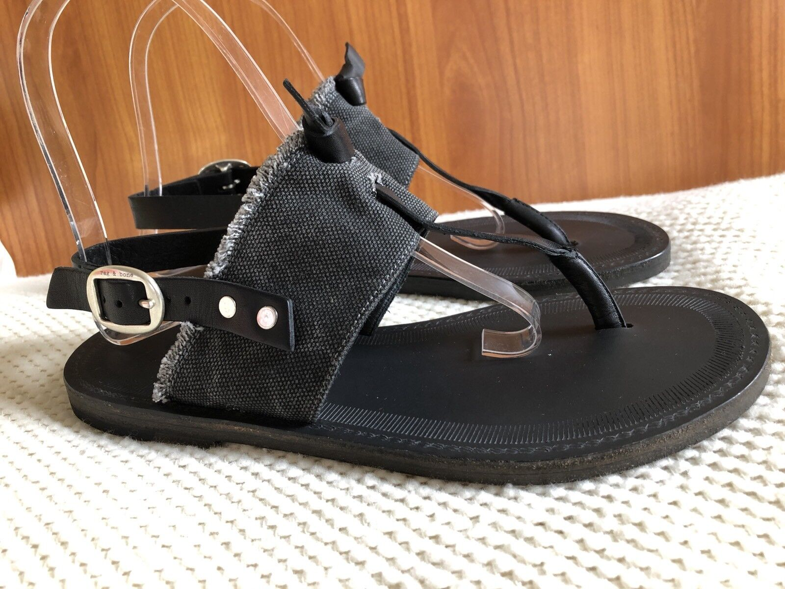 Rag & Bone Claire Black Graphite Leather Canvas Sandals New Size 6 (36)