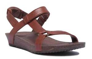 Teva Ysidro Universal Women Leather Bronze Strappy Wedge