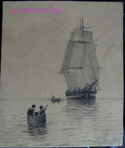 DESSIN-ORIGINAL-ALFRED-PARIS-illustration-livre-Voyages-de-Louis-Garneray-2