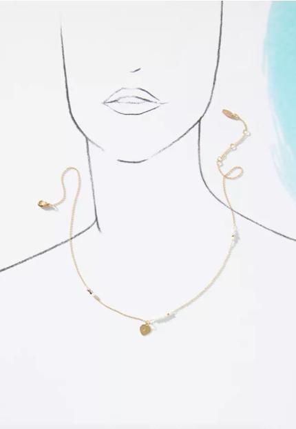 NEW Beaded Monogram Pendant letter C heart shaped Necklace Gold glass beads