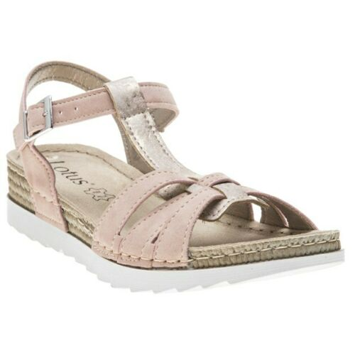New Womens Lotus Pink Charlene Synthetic Sandals Wedge Straps