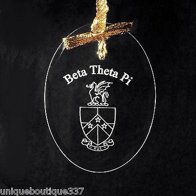 Beta Theta Pi, ΒΘΠ, Crystal Beveled Oval Name & Crest  Ornament/Sun Catcher
