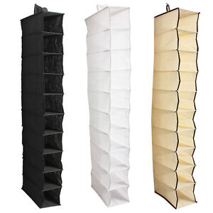 10-Tiers-Hanging-Rack-Bag-Clothes-Shoes-Hanger-Organiser-Wardrobe-Closet-Storage