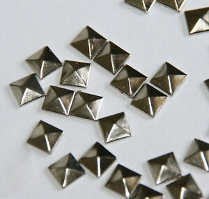100pc-Hotfix-Iron-On-7mm-Silver-Pyramid-Studs-1-4-034-034-Glue-on-Studs-WS-T6N-V4A2