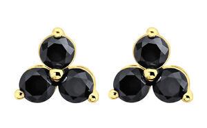 10k White Gold Prism Jewel 0.18 Carat Round Green Diamond Screw Back Prong Set Stud Earrings