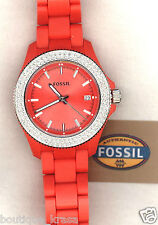 NWT Fossil AM4469 Retro Traveler Orange Resin Straps Orange Dial Glitz Watch