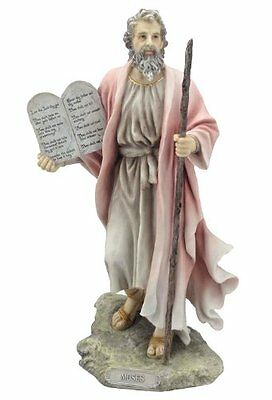 "9.75"" Moses Statue Biblical Figurine Religious Sculpture Decor 10 Commandments"