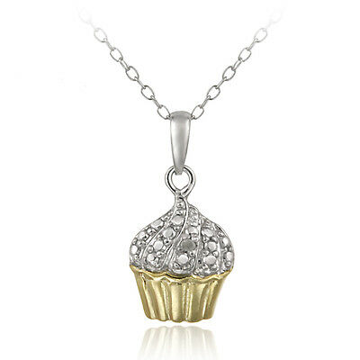 925 Silver Two Tone Diamond Accent Cupcake Necklace, 18""