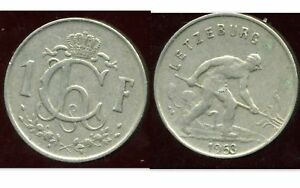 LUXEMBOURG 1 franc 1953 ( aus ) - France - Year: 1953 Era: 1990s Composition: Nickel Region of Origin: Europe - France