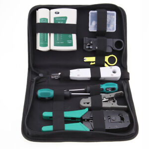 RJ11 RJ45 Cable Hand Crimper Network Tester Punch Down Impact Tool Kit W/bag