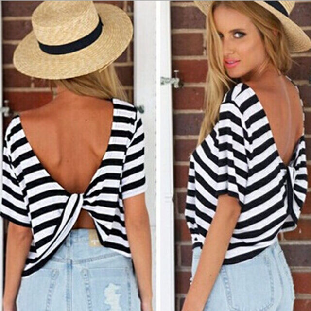 New Womens Short Sleeve Loose Black White T Shirt Summer Casual Tops Blouse