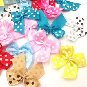100pcs-Dot-Satin-Ribbon-Flowers-Bows-Gift-Craft-Wedding-Decoration-Upick-E163