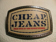 CHEAP BLUE JEANS SOLD ONLY AT THE FINEST STORES CHROME METAL BELT BUCKLE NICE!