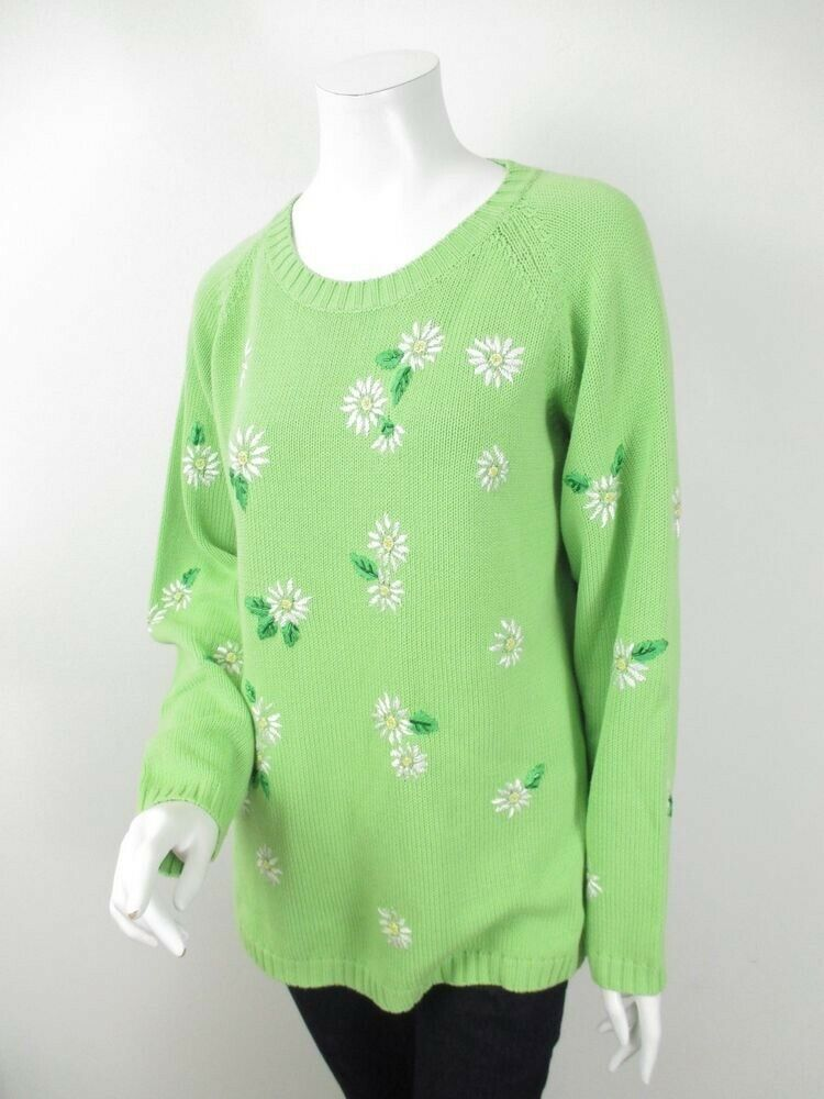 QVC The Quaker Factory Green Sweater Beaded Embroidered Daisy Floral Women's 1X
