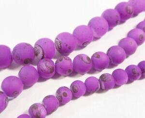 3-Strange-Perlenset-Gummierte-Perlen-Lila-Drawbench-6-8-10-mm-Glasperl-BEST-R356