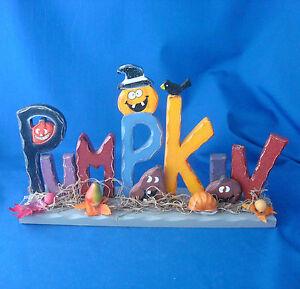 Halloween-Pumpkin-jack-o-lantern-Greeting-wooden-mantle-shelf-decoration-13-034-x7-034