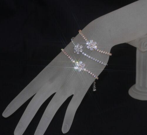 "Created Diamond Rotating Flower /""GOOD LUCK/"" Bracelet Adjustable W"