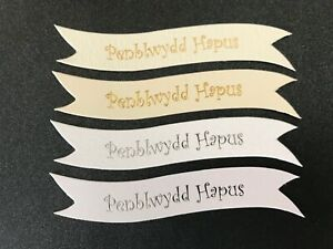 Penblwydd Hapus (Welsh Happy Birthday) banners/card toppers  pk10