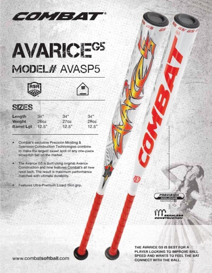 Lucha contra la codicia G5 Softbol bate de paso lento Asa avasp 5 34  - Edición Limitada de 26 OZ