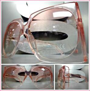 Classic Vintage Retro Style SUN GLASSES Bling Rectangular Black Frame Pink Lens