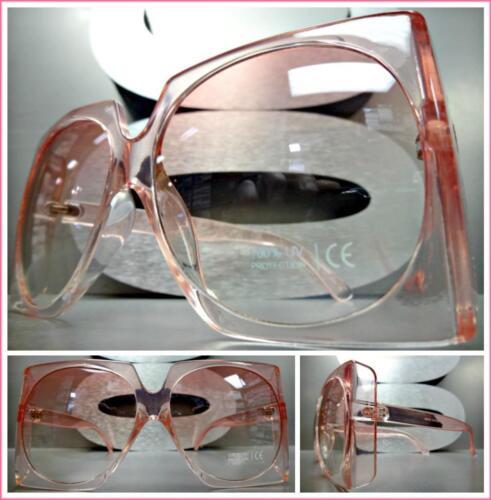 Oversized Classic Vintage Retro Style SUN GLASSES Large Square Pink Frame /& Lens