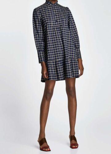 Zara vestido cuadros a cuadros volant túnica checked printed ruffled dress tunic M L XL