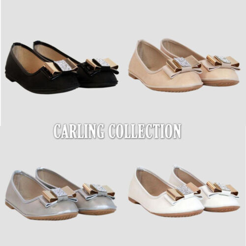 New Womens Ladies Flat Pumps Diamante Bow Glitter Ballet Ballerina Dolly Shoes