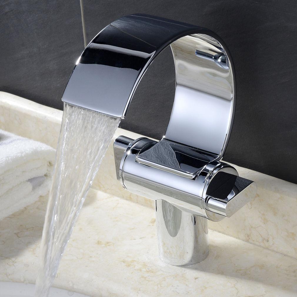 Demi-cercle Cascade Bec Verseur 2 poignées salle de bains bassin évier mitigeur robinet laiton robinets