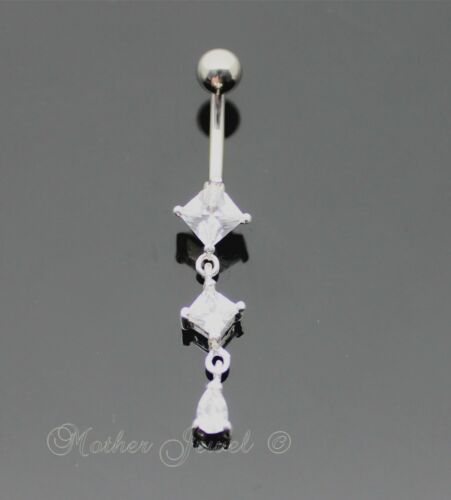 925 STERLING SILVER TRIPLE SQUARE CLEAR CZ 316L SURGICAL STEEL BELLY BAR RING