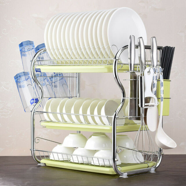 Kitchen Storage Dish Cup 2-Tier Dryer Drying Rack Holder Organizer Drainer Dryer