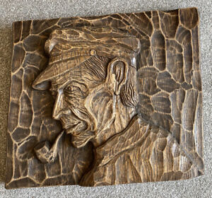 French-Carved-Wall-Plaque-Antique-Vintage-Old-Sailor-Sea-dog-Signed-Bettheleme