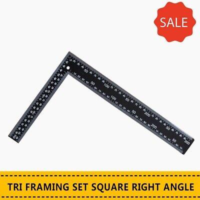 20X30CM STEEL TRI FRAMING SET SQUARE RIGHT ANGLE STRAIGHT EDGE L RULER 300MM