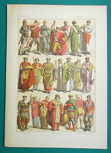 BYZANTINE-COSTUME-2-8th-C-Emperor-Queen-Soldiers-Consul-1883-Color-Litho-Print